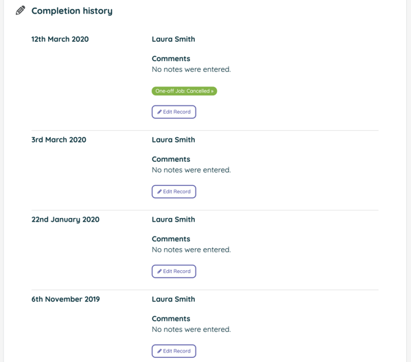 Task Completion record